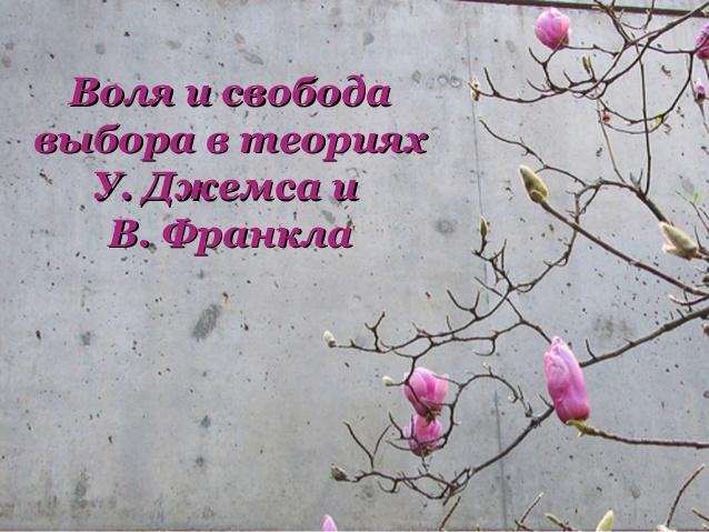 Воля и свобода выбора в теориях У. Джемса и В. Франкла